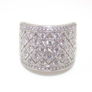 Vanna K Sterling Clear CZ Cluster Wide Band Ring 8